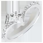 Juweliers Ring Mysterieus Bos - wit goud en zaadje in diamant - 18 karaat