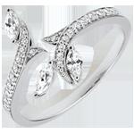 cadeau dame Ring Mysterieus Bos - wit goud en zaadjes in diamant - 18 karaat