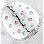 Juwelier Ring Mysteriöse Form - Silber, Diamanten und Halbedelsteine
