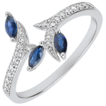 Geschenke Frauen Ring Mysteriöser Wald - Weißgold, Diamanten und Marquise Saphire - 9 Karat