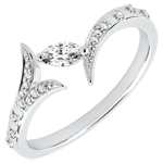 buy Ring Mysterious Wood - small model - white gold and marquise diamonds - 9 carats