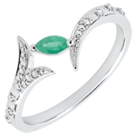 women Ring Mysterious Wood - small model - white gold and marquise emerald - 18 carats