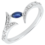 jewelry Ring Mysterious Wood - small model - white gold and marquise sapphire - 18 carats