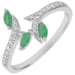 Ring Mysterious Woods - white gold, diamonds and emeralds boats - 18 carats
