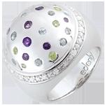 Ring Mystriöse Kugel - Silber, Diamanten und Halbedelsteine