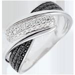 Ring Obscuur Licht - Beweging - witte diamanten - 18 karaat
