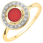 Ring of Bliss - Cornelian & diamonds - 9 carat yellow gold
