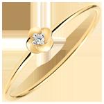 Ring Ontluiken - Eerste roze - klein model - geel goud en diamant - 9 karaat
