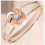 cadeau dames Ring Ontluiken - Eerste roze - roze goud en diamant - 9 karaat