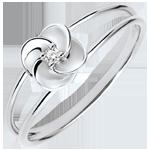 Ring Ontluiken - Eerste roze - wit goud en diamant - 9 karaat