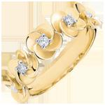 Ring Ontluiken - Kroon van rozen - geel goud en diamanten - 9 karaat