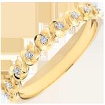 Ring Ontluiken - Kroon van rozen -klein model - geel goud en diamanten - 9 karaat