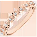 Ring Ontluiken - Kroon van rozen -klein model - roze goud en diamanten - 9 karaat