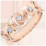 Bestel Online Ring Ontluiken - Kroon van rozen - roze goud en diamanten - 9 karaat