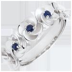 cadeaus Ring Ontluiken - Kroon van rozen - wit goud en saffieren - 9 karaat