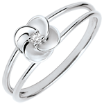 Ring Ontluiking - Eerste roze - 18 karaat witgoud met Diamant
