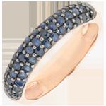 Verkäufe Ring Paradiesvogel - Dreierreihe - Rotgold und Blauer Saphir