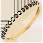 Geschenke Frau Ring Paradiesvogel Einerreihe - Gelbgold und schwarze Diamanten