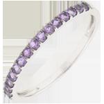 Juweliere Ring Paradiesvogel - Einerreihe - Weißgold und Amethyst