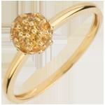 Juwelier Ring Paradiesvogel - Kugel - Gelbgold und gelber Citrin