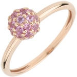 Online Kauf Ring Paradiesvogel - Kugel - Rotgold und rosa Saphir