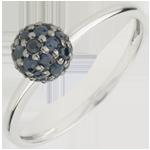 Geschenk Frau Ring Paradiesvogel - Kugel - Weißgold und Blauer Saphir