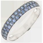 Frau Ring Paradiesvogel - Zweierreihe - Weißgold und Blauer Saphir
