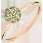 Ring Paradijsvogel - Bal - roze goud en tsavoriet