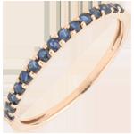Ring Paradijsvogel - een rij - roze goud en blauwe saffier