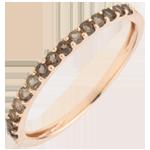 Ring Paradijsvogel - een rij - roze goud en rookkwarts