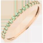 Ring Paradijsvogel - een rij - roze goud en tsavoriet