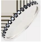 cadeaus dames Ring Paradijsvogel - een rij - wit goud en zwarte diamanten