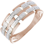 women Ring - Pink gold and diamonds