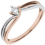 sell Ring Precious Nest - Claire - whiet gold. pink gold - 0.11 carat diamond - 18 carats