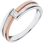 women Ring Precious Nest - Salome - pink gold - 0.10 carat diamond - 18 carats