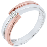 gift woman Ring Precious Nest - Solitaire Rings - pink gold. white gold - 0.18 carat - 9 carats