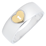 gift woman Ring Precious Secret - Heart - yellow gold, white gold