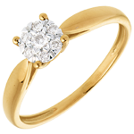 Ring Roseau Geel Goud betegeld - 7 Diamanten