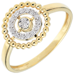 women Ring Salty Flower - circle - yellow gold