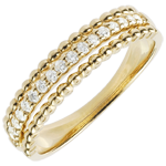 gift women Ring Salty Flower - two rings - yellow gold - 9 carat