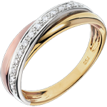 women Ring Saturn Diamond - 3 golds - 18 carat