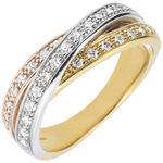 gold jewelry Ring Saturn Diamond - 3 golds - 29 diamonds - 18 carat