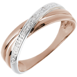 jewelry Ring Saturn Duo variation - rose gold - 4 diamonds