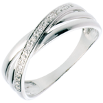 gift woman Ring Saturn Duo variation - white gold - 4 diamonds