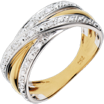 gift women Ring Saturn Illusion - yellow gold, white gold - 13 diamonds