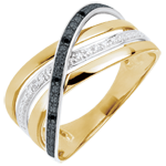 gift woman Ring Saturn Quadri - yellow gold - black and white diamonds - 9 carat