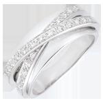 Goldschmuck Ring Saturn Spiegel - Weißgold - 23 Diamanten - 9 karat