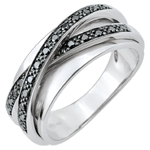 Goldschmuck Ring Saturn Spiegel - Weißgold und schwarze Diamanten - 23 Diamanten - 9 karat