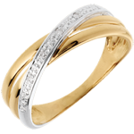 Geschenk Frau Ring Saturnduett Variation - Gelbgold - 4 Diamanten