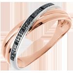 Geschenke Ring Saturnduett Variation - Rotgold und schwarze Diamanten - 18 Karat